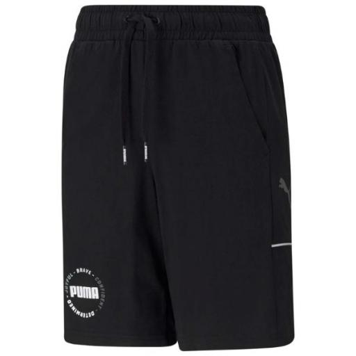 PUMA Alpha Shorts. Black. 585896 01. Pantalón corto Niño.