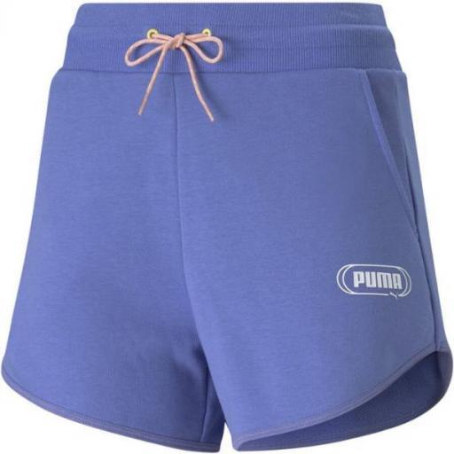 PUMA Rebel High Waist Shorts. Hazy blue. 585817 14