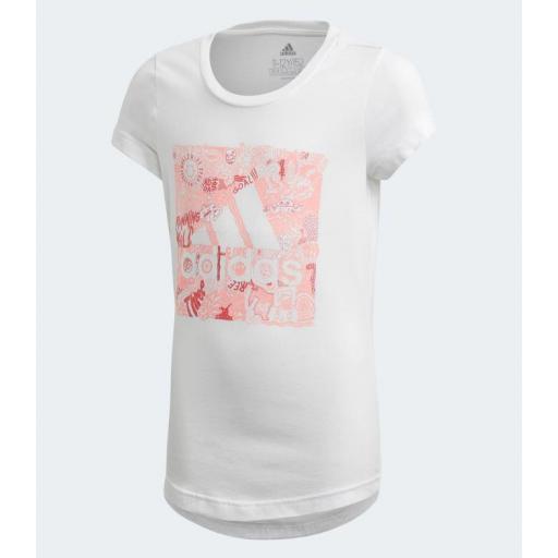 Camiseta Niña Adidas MH BOS. White. FM4481