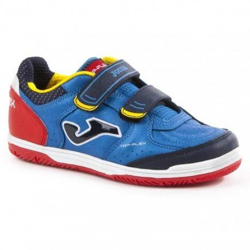 ZAPATILLA FÚTBOL SALA NIÑO JOMA TOP FLEX JR 704 ROYAL VELCRO INDOOR