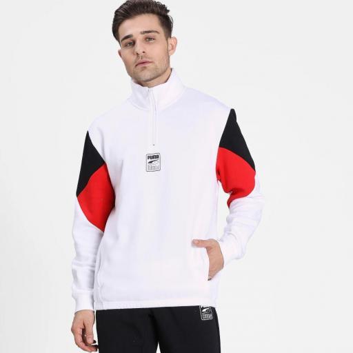 Puma Rebel Half zip Fl. White. 583573 02