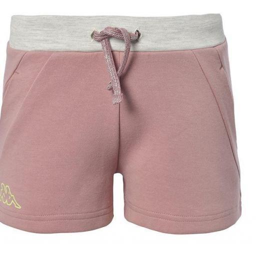 Pantalones Shorts Niña Kappa Qualix. 311246W. Pink-white-green.