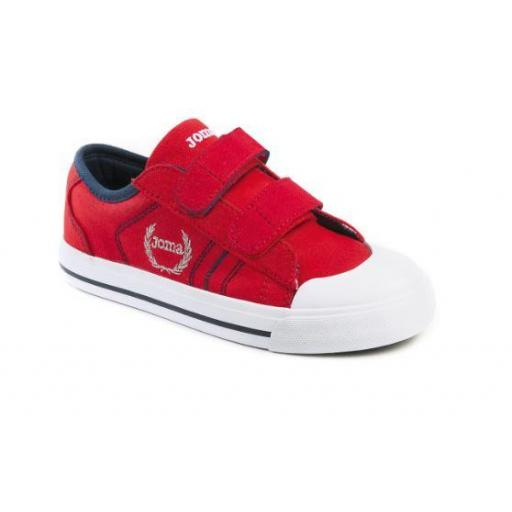 Zapatilla lona niño Joma R.Revel JR. 906 Red Velcro.