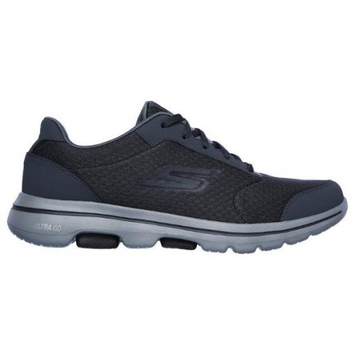Skechers Go Walk 5-QUALIFY. Charcoal/Black. 55509/CCBK