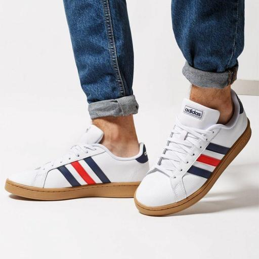 Zapatilla Casual Adidas Grand Court. EE7888. White/blue/red. [1]
