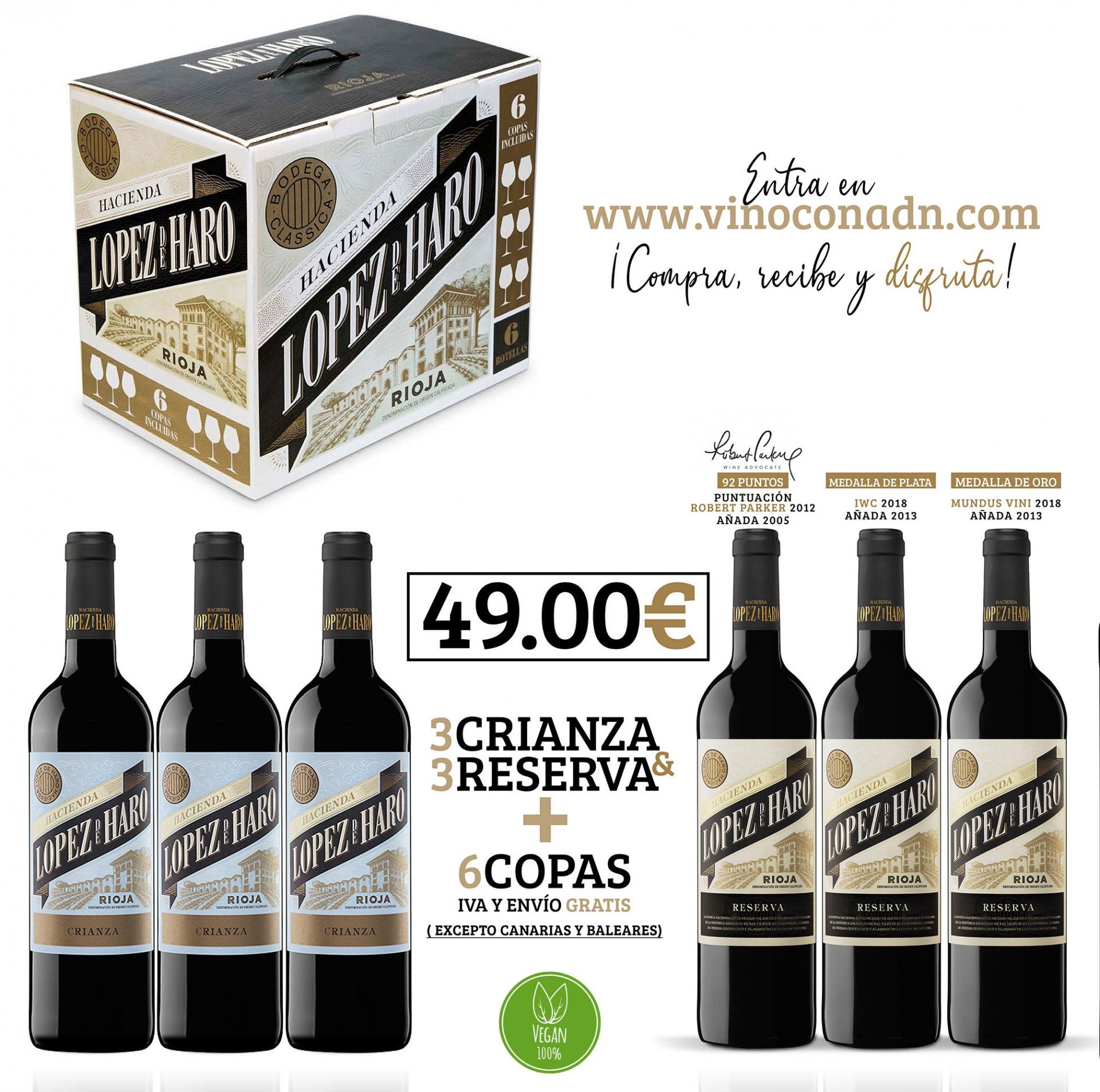 Lote Lopez de Haro + 6 copas