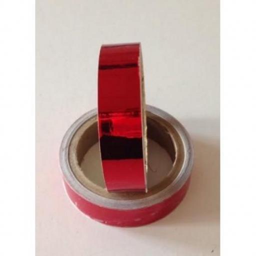 Cinta adhesiva Rojo Metalizado,  25mm