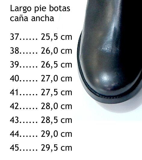 Medida largo pie botas caña extra ancha