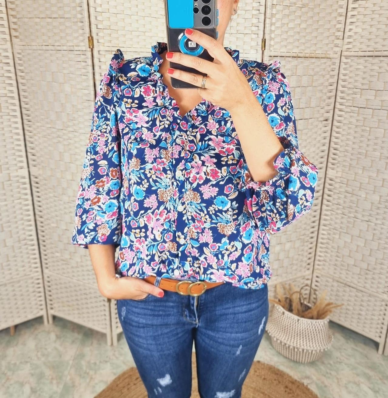 Blusa Floral Azul