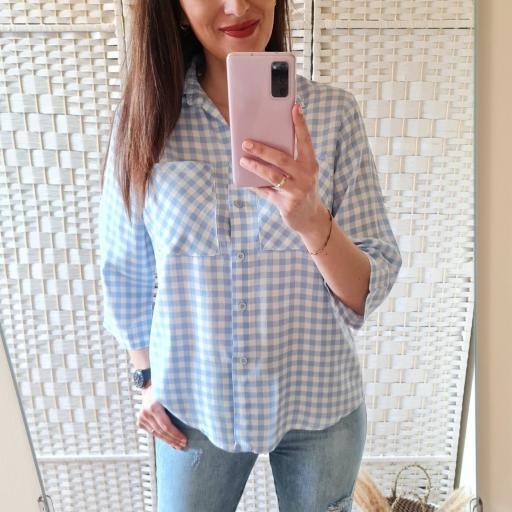 Camisa Cuadros Celeste [1]