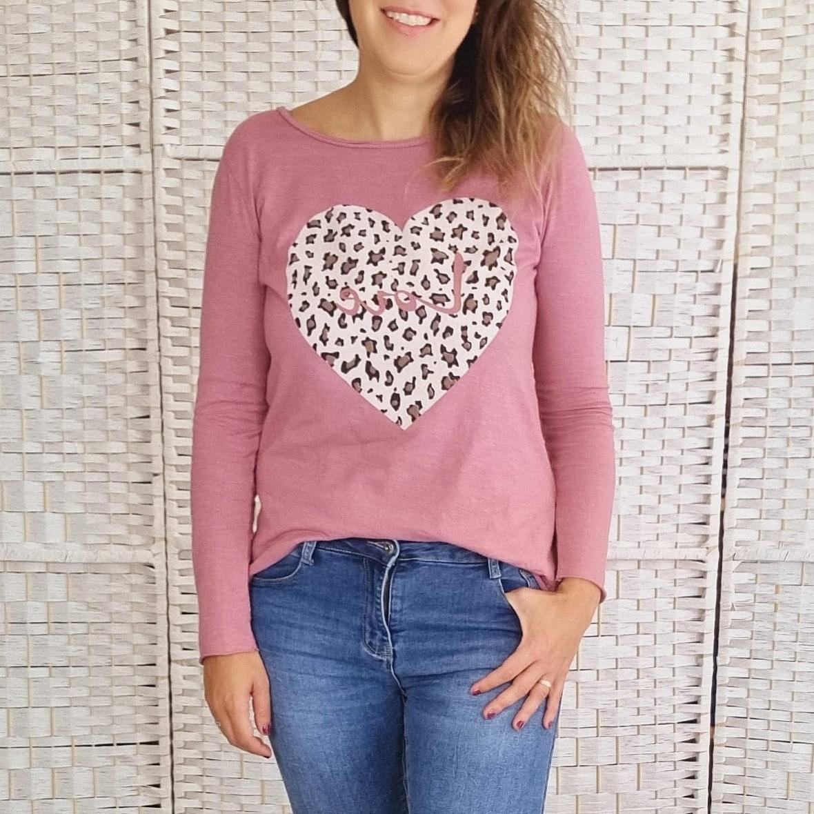 Camiseta Love Print Rosa