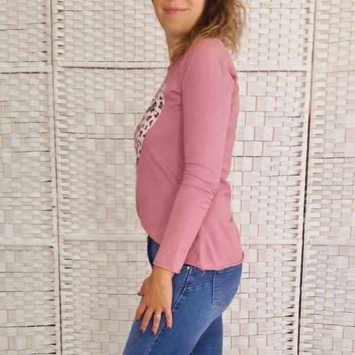 Camiseta Love Print Rosa [1]