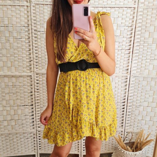 Vestido Mostaza Flores [1]