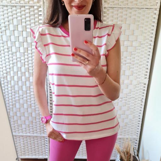 Camiseta Rayas Fucsia [1]