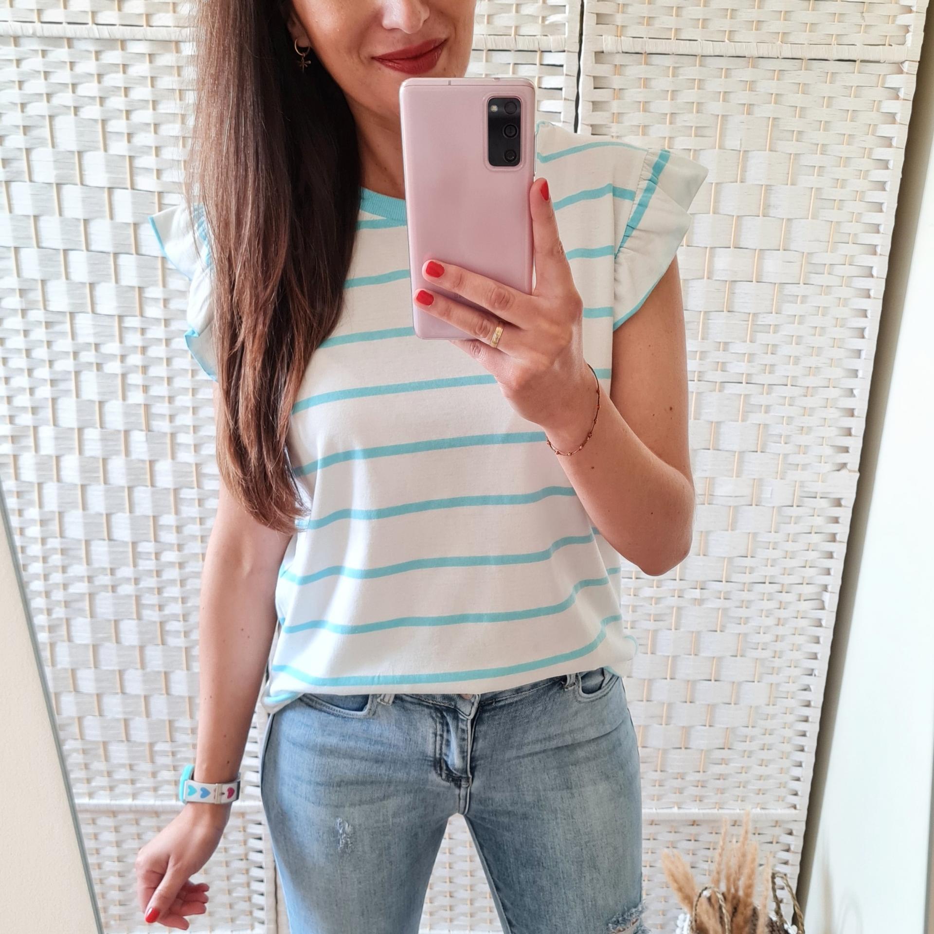 Camiseta Rayas Turquesa