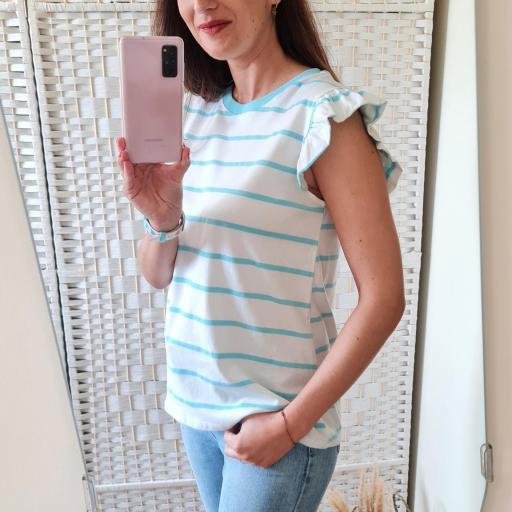 Camiseta Rayas Turquesa [2]