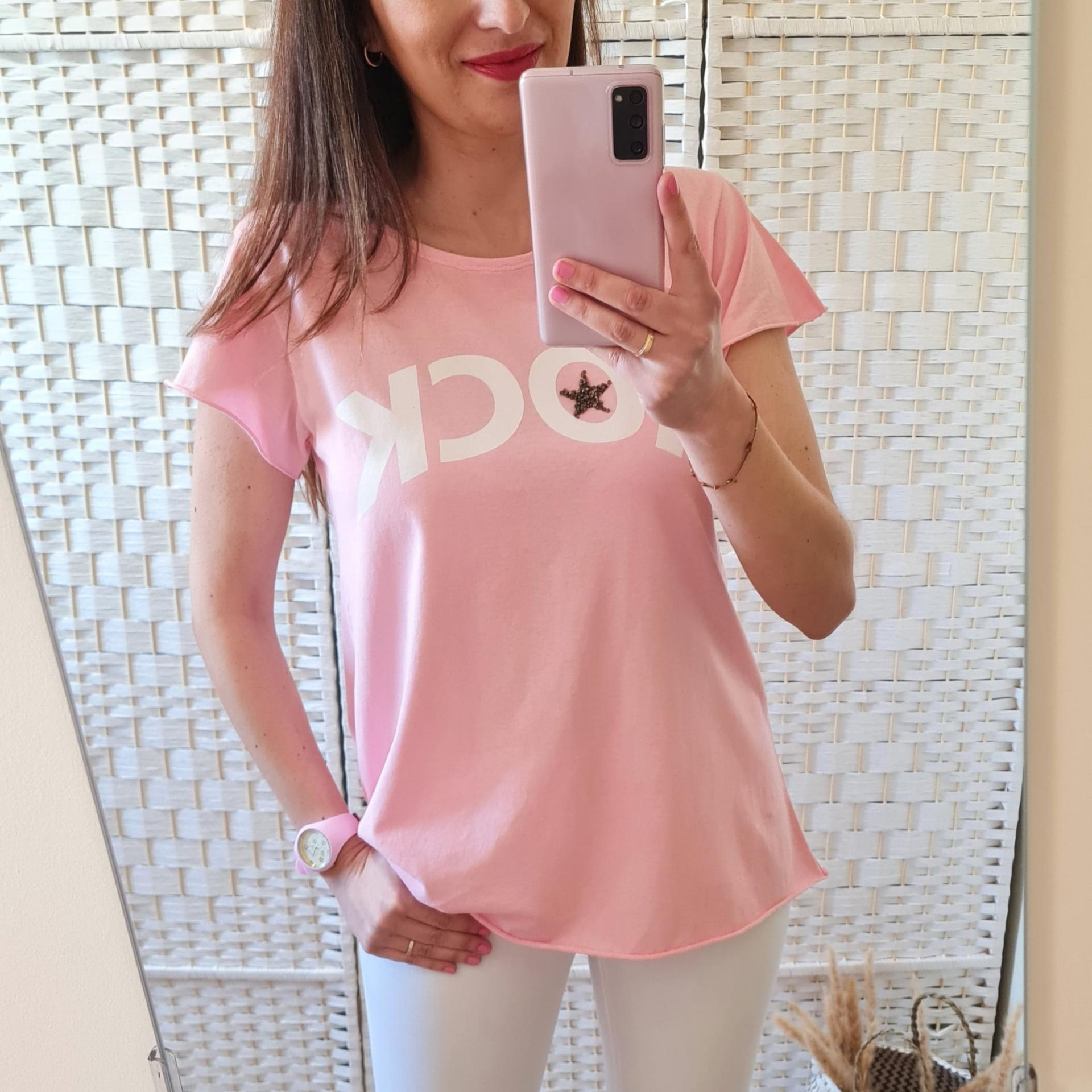 Camiseta Rock Rosa