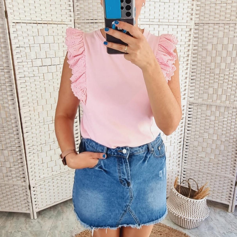 Camiseta Rosa Volantes