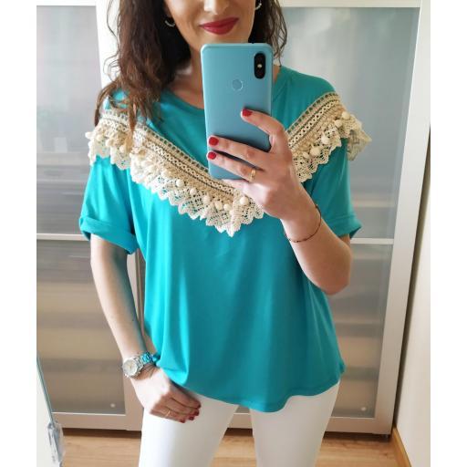 Camiseta Turquesa Borlas [1]