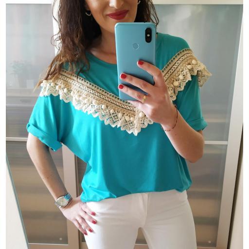 Camiseta Turquesa Borlas [3]