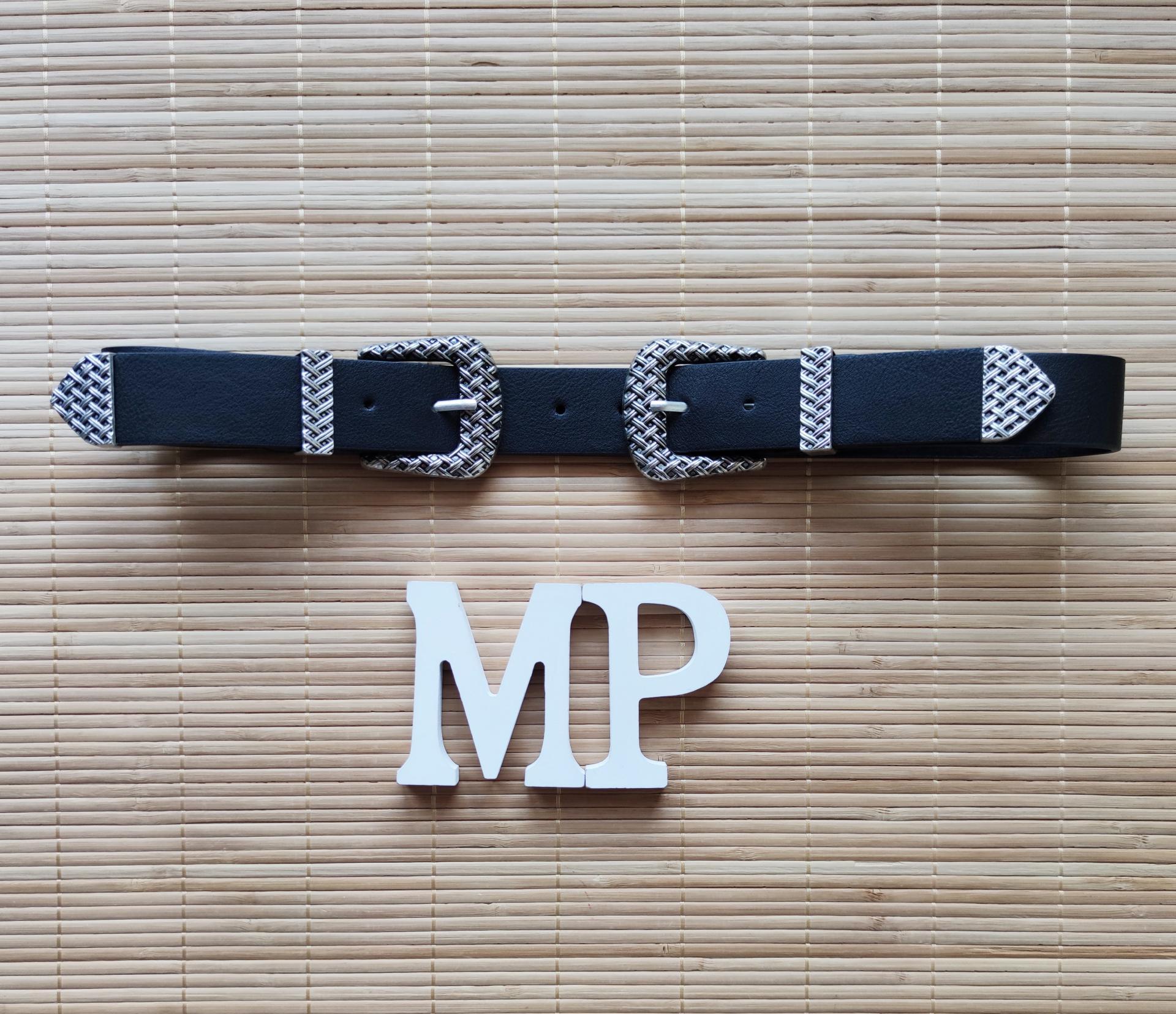 Cinturón Negro Doble Hebilla