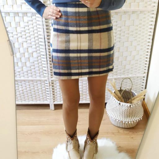 Falda Franela Cuadros Azul [1]