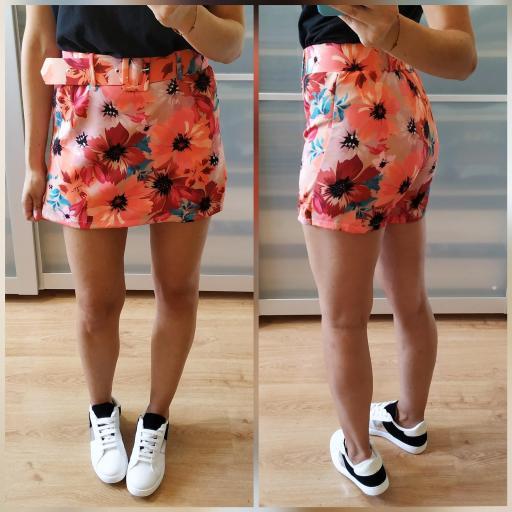 Falda-Pantalón Floral Naranja