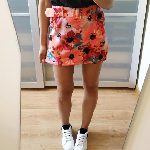 Falda-Pantalón Floral Naranja [1]