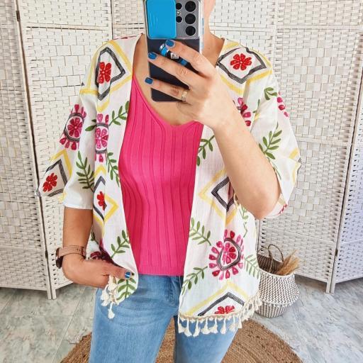 Kimono Bordado Flores