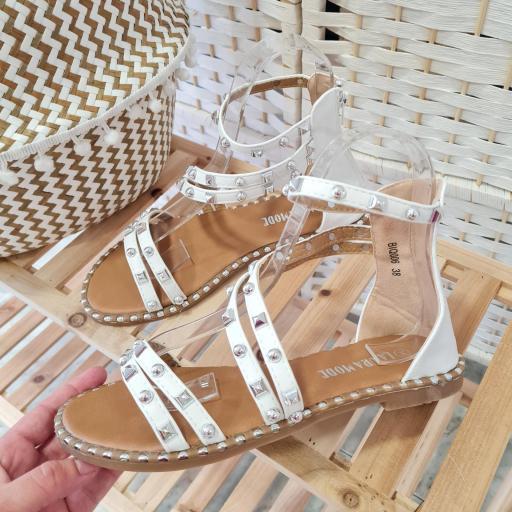 Sandalias Blancas Tachas