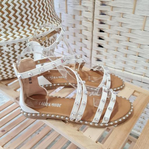 Sandalias Blancas Tachas [3]