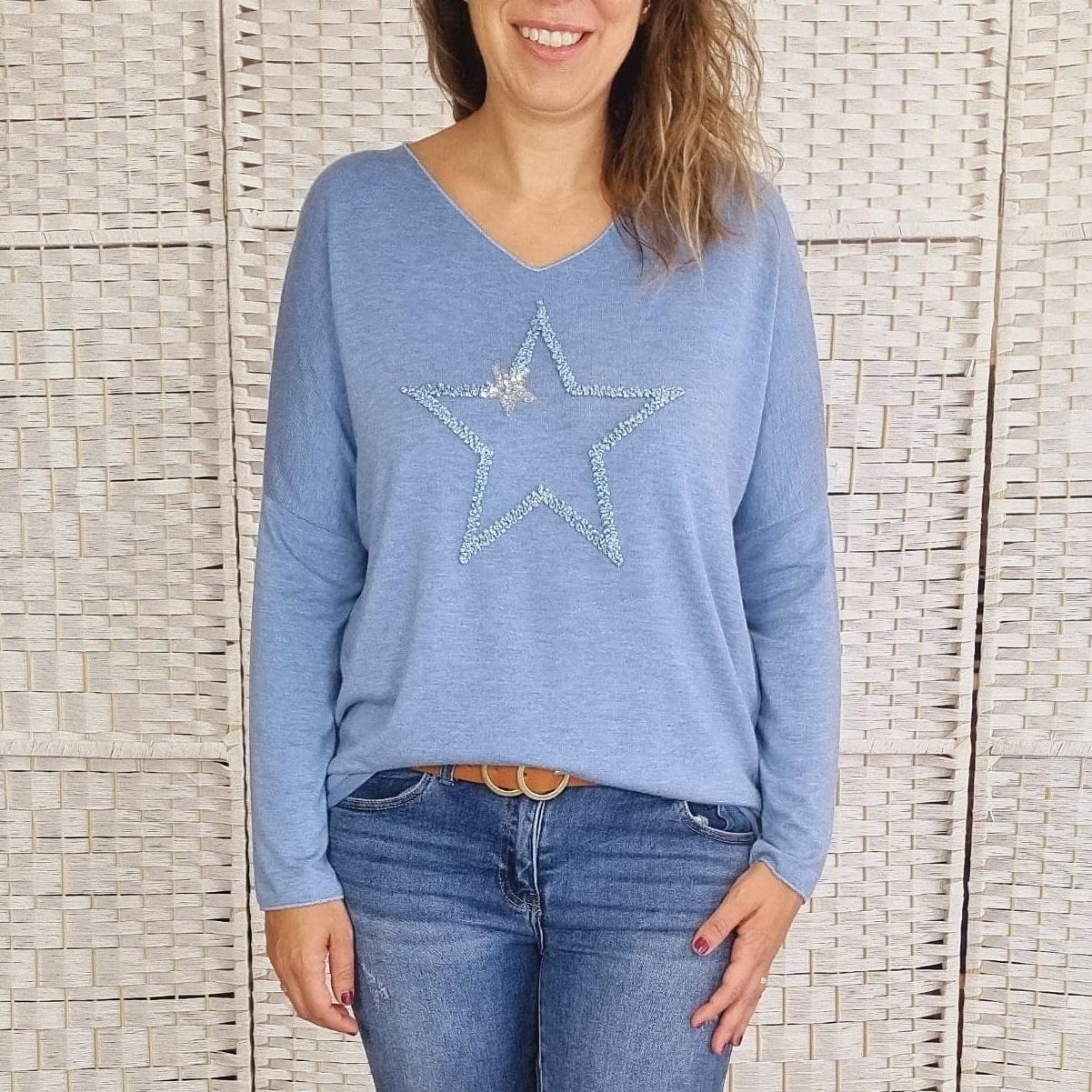 Suéter Azul Star