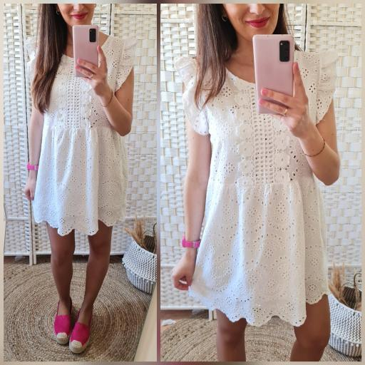 Vestido Blanco Perforado