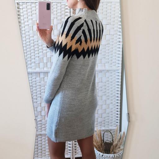 Vestido Punto Grecas Gris [1]