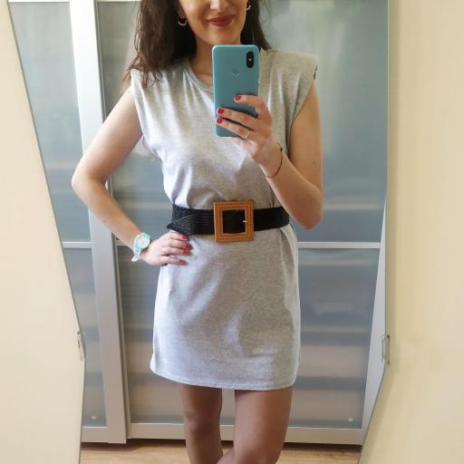 Vestido Hombreras Gris [1]