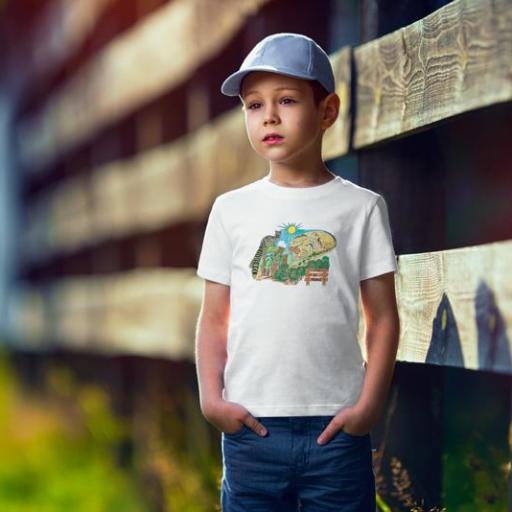 El Parc 3 Camiseta Nen/Nena Blanca/Gold/Verda