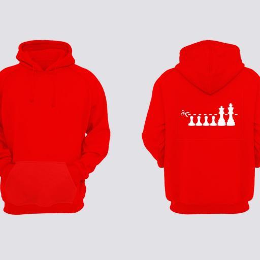 Sudadera Jaque al Rey 2 Rojo Espalda