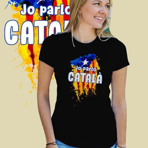 Jo parlo Català+ESTELADA Samarreta Dona B/N/G