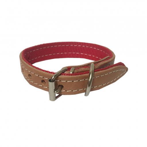 Collar perro cuero y nylon 52 cm x 3 cm