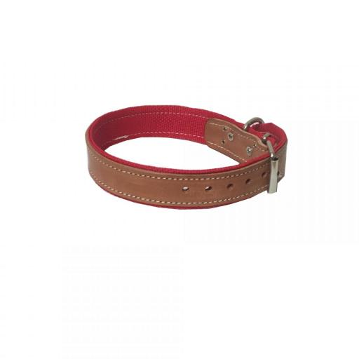 Collar perro cuero y nylon 66 cm x 4 cm