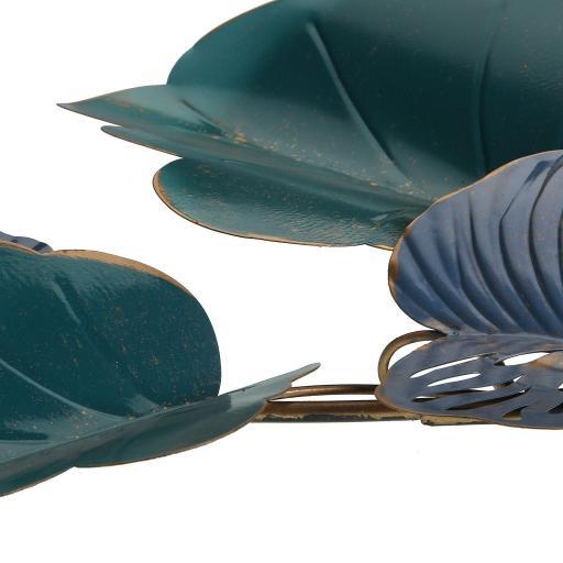 Decoración pared hojas azul metal  [1]