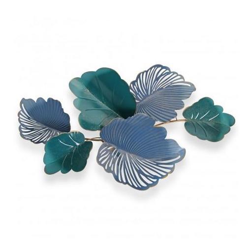 Decoración pared hojas azul metal