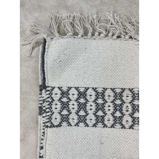 Alfombra algodón flecos blanco [2]