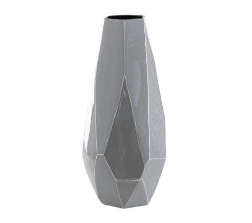 Jarrón cerámica lacada gris