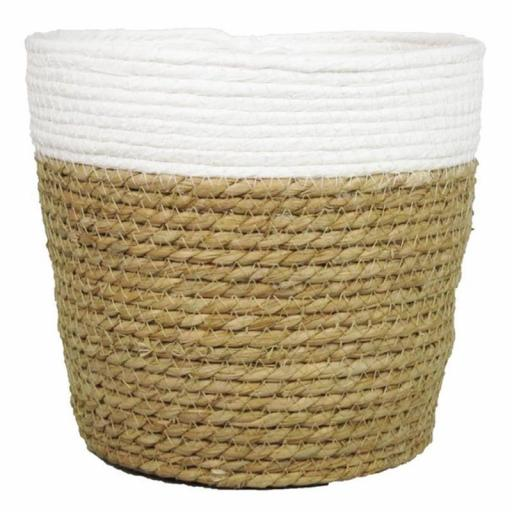 Macetero cesta 16x19 cm marrón blanco