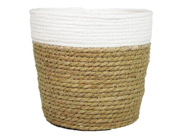Macetero cesta 22x24 cm marrón blanco