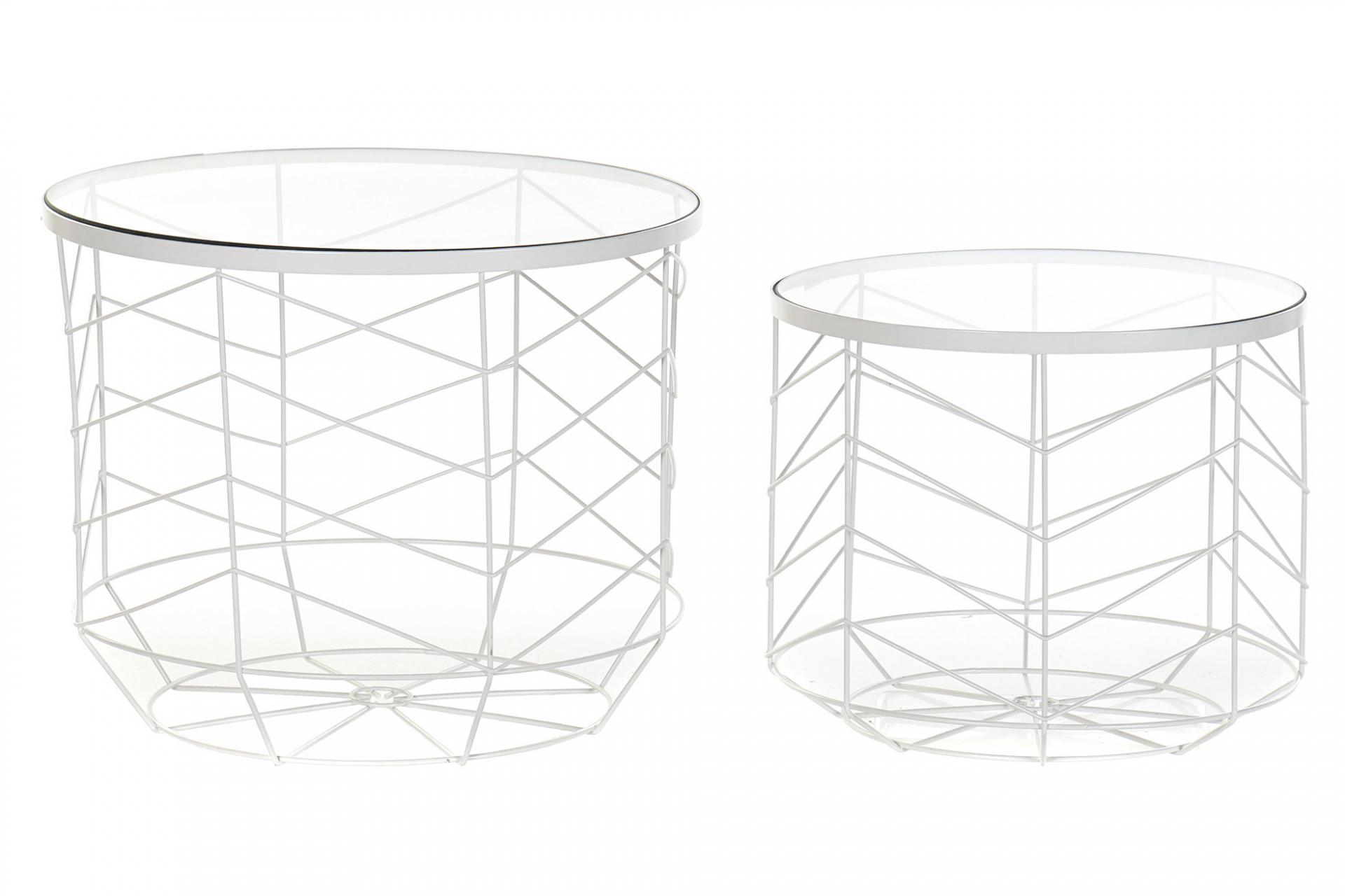 Set mesas auxiliares metal cristal geométrico