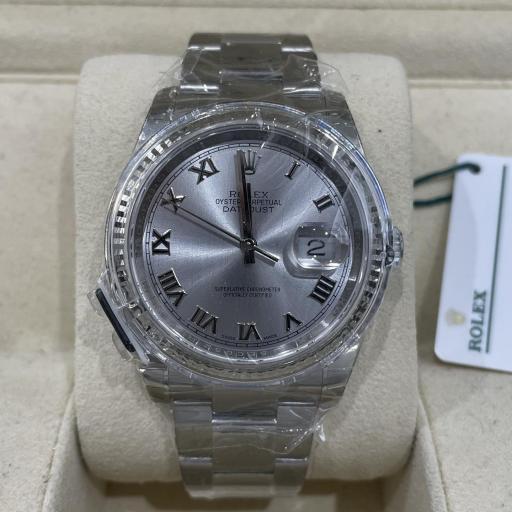 Rolex Datejust acero números Romanos  Bisel oro Blanco 18K Tarjeta Nueva  ref 116234.