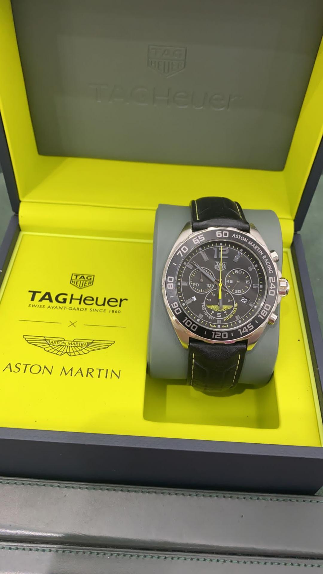 TAG Heuer Formula 1 Edicion Aston Martin Racing 43mm Esfera negra Correa de piel negra