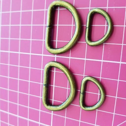 Cierres forma D - Oro Viejo - Pack 2 unidades